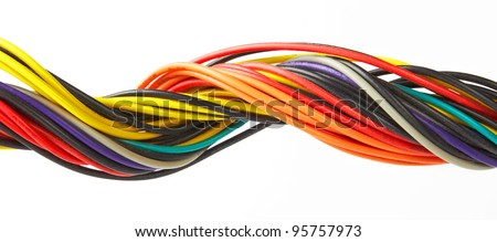 Multicolored cable isolated on white background - stock photo