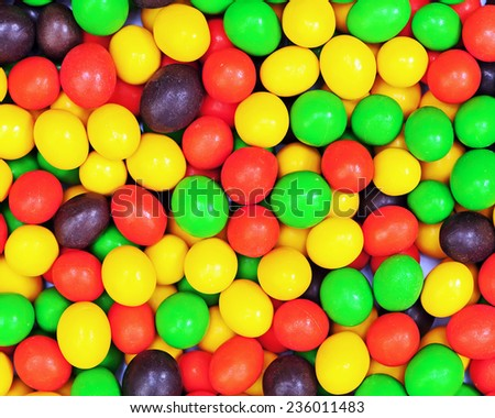 Multicolored candies for use as background. Closeup. - stock photo