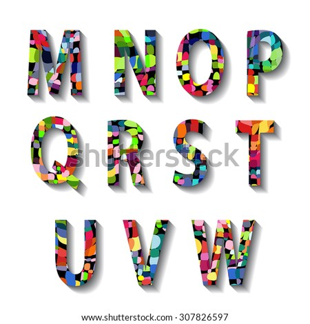Multicolored Carnival Alphabet with Numbers. illustration. - stock photo
