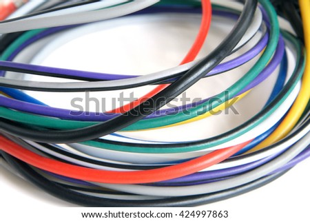 Multicolored computer cable on a white background - stock photo