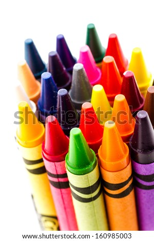Multicolored crayons on a white background. - stock photo