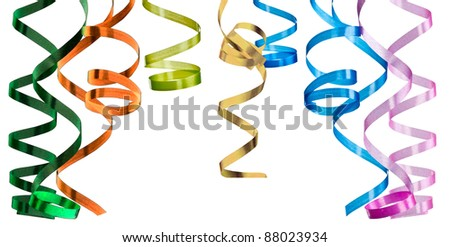 Multicolored curling paper streamer isolated - stock photo