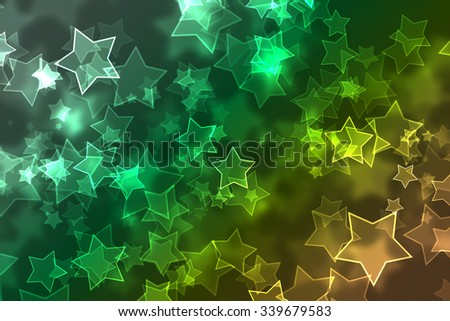 Multicolored defocused bokeh with lights and stars - stock photo