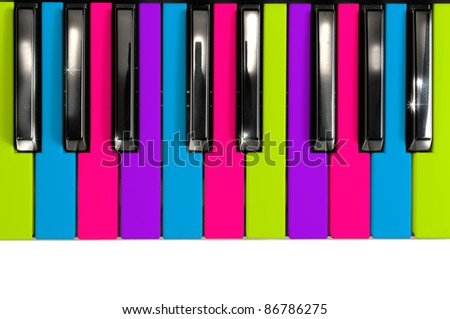 Multicolored Disco Style Piano Keys - stock photo