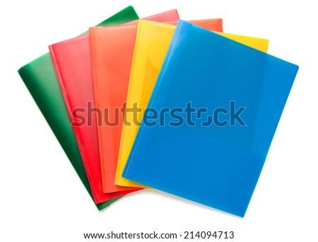Multicolored Document Folders on White - stock photo