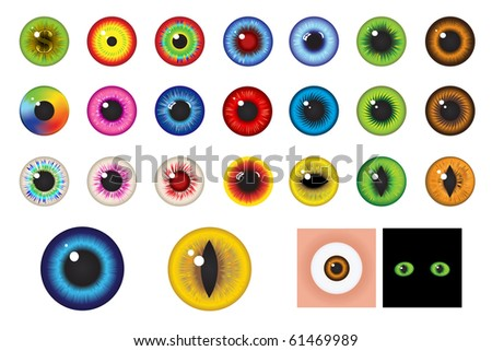 Multicolored Eyes, Iris and Pupil - Elements for design - stock photo