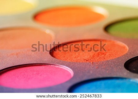 Multicolored eyeshadow palette - Low angle view - stock photo