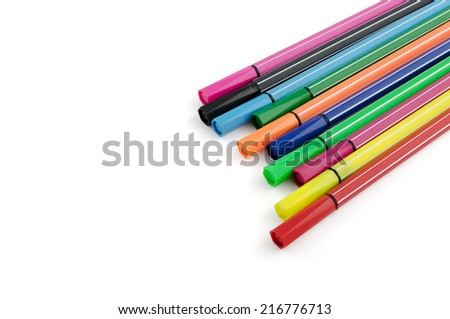 multicolored felt pens isolated on white with place for text - stock photo