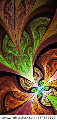 Multicolored flower pattern in stained-glass window style. You can use it for invitations, notebook covers, phone case, postcards, cards, wallpapers and so on. Artwork for creative design, art  - stock photo