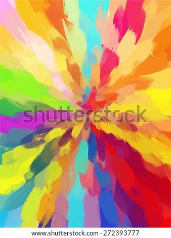 Multicolored funnel brush strokes background. Raster version - stock photo