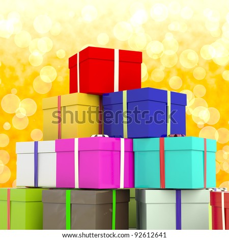 Multicolored Giftboxes  With Yellow Bokeh Background As Presents For Family - stock photo
