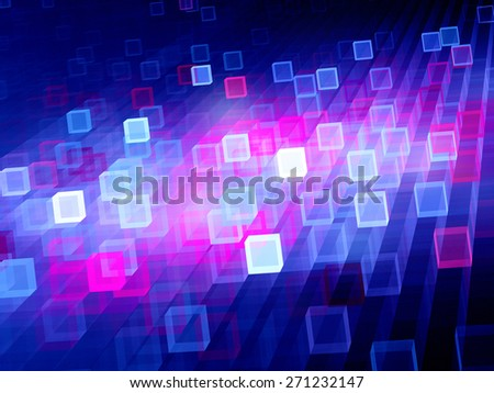 Multicolored glowing vibrant cubes, new technologies, computer generated abstract background - stock photo