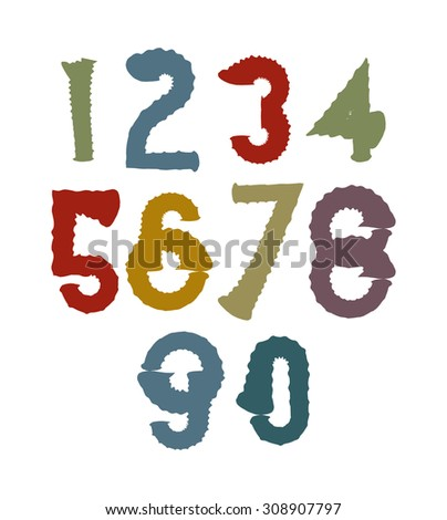 Multicolored handwritten numbers, doodle brushed figures, hand-painted set of numbers with brushstrokes. - stock photo