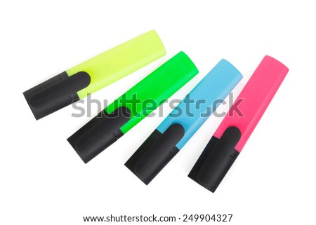 Multicolored highlighters. Isolated on white background - stock photo