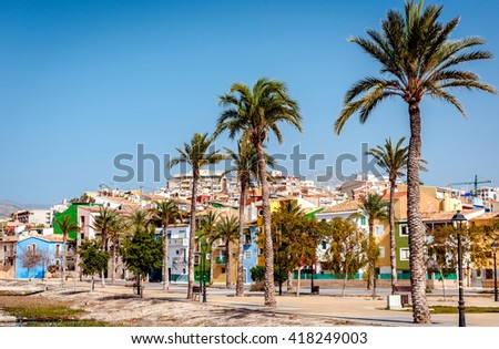 Multicolored houses of Villajoyosa / La Vila Joiosa town. Coastal town of Costa Blanca. Province of Alicante, Valencian Community, Spain