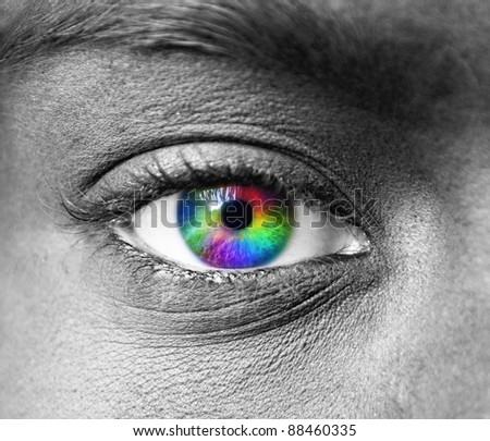 Multicolored human eye macro shot - stock photo