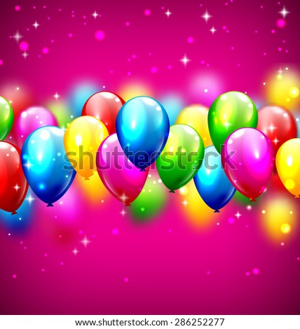 Multicolored inflatable celebration balloons on violet background - stock photo