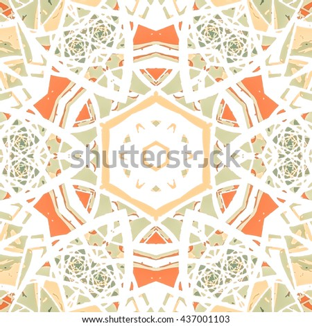 Multicolored kaleidoscopic tile element colored with stylish palette. Symmetrical seamless pattern with vintage flavour. - stock photo