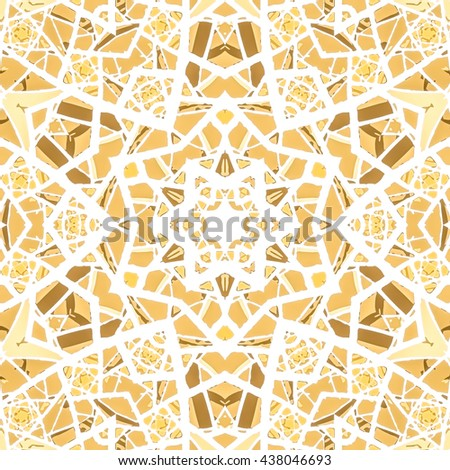 Multicolored kaleidoscopic tile element colored with stylish palette. Symmetrical seamless pattern that can be used as a background texture or for print. - stock photo