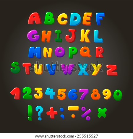 Multicolored kids  Font,  letters,  numbers and orthographic symbols - stock photo