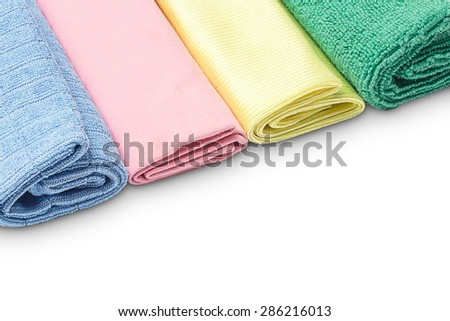 Multicolored microfiber duster isolated on white background - stock photo