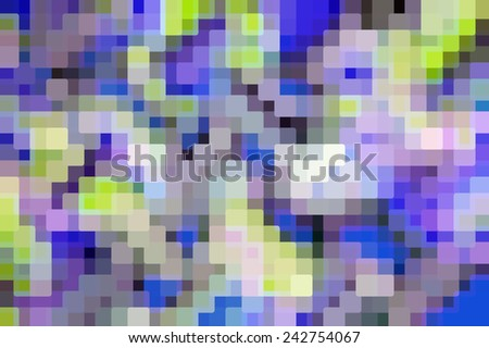 Multicolored mosaic of rounded squares with a geometric layout: Abstract background composed of many rounded squares, some opaque, overlapping for three-dimensional effect, for themes of multiplicity - stock photo