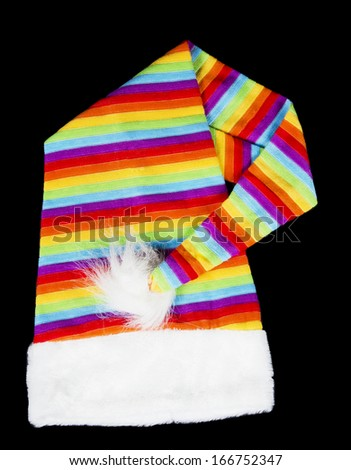 Multicolored New Year hat (isolated on black) - stock photo