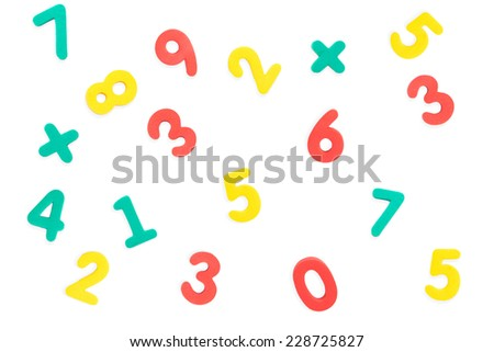 Multicolored numbers isolated on white background. - stock photo
