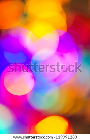 Multicolored out of focus Christmas light background - stock photo