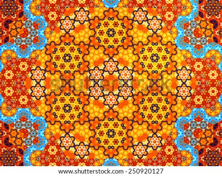 Multicolored patterns in nanotechnology, computer generated abstract background - stock photo