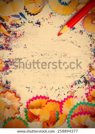 multicolored pencil shavings and copy space, still life. instagram image retro style - stock photo