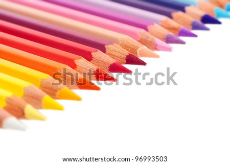 Multicolored pencils isolated on white - stock photo
