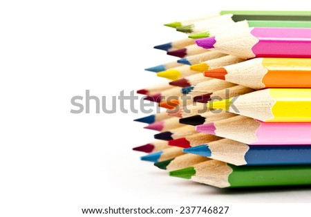 Multicolored pencils set isolated on white background. Back to school. - stock photo
