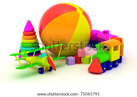 Multicolored plastic toys isolated - stock photo