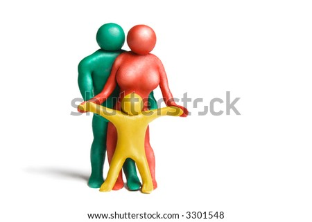 Multicolored plasticine human figures on a white background - stock photo