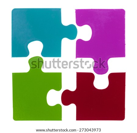 Multicolored puzzle isolated on a white background - stock photo