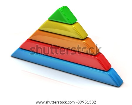 Multicolored pyramid chart 3d - stock photo