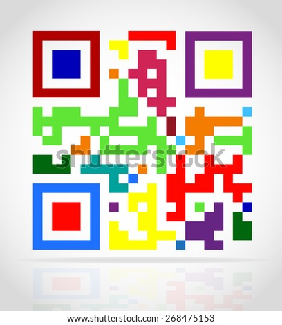 multicolored qr code illustration isolated on white background - stock photo