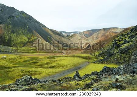Multicolored rhyolite mountains of Landmannalaugar, Iceland - stock photo