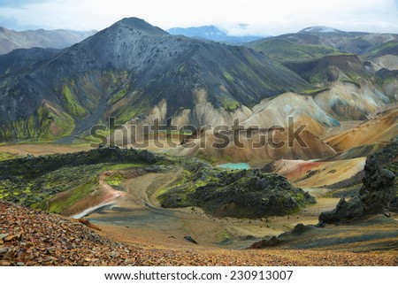 Multicolored rhyolite mountains of Landmannalaugar, Iceland - stock photo