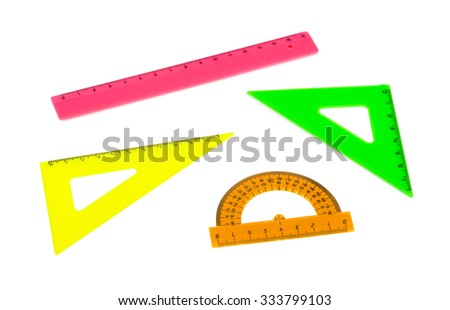 Multicolored rulers isolated on white background - stock photo