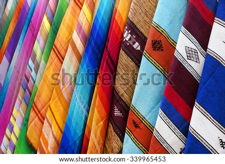 Multicolored scarves on souk in Marrakech, Morocco - stock photo