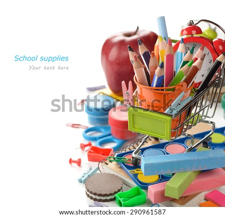 Multicolored school supplies on a white background - stock photo