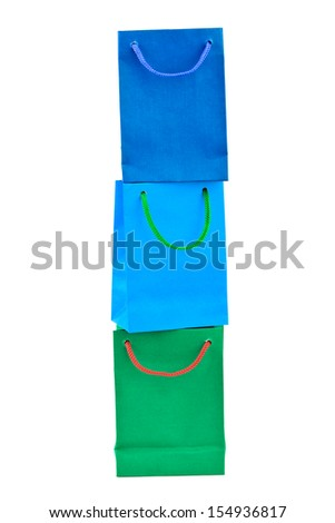 Multicolored shopping bags isolated on white background - stock photo