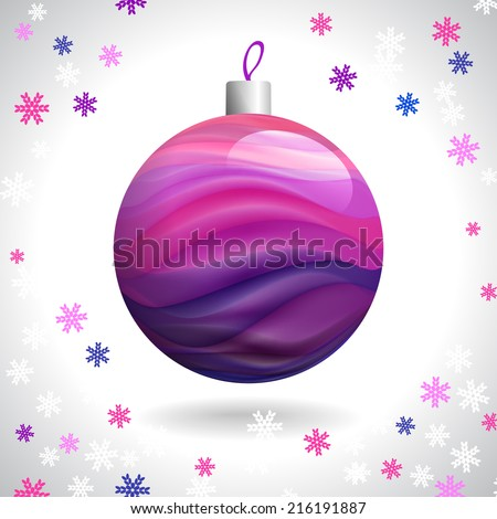 Multicolored Striped Christmas Ball on Background of Snowflakes - stock photo