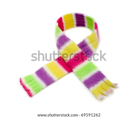 Multicolored striped scarf isolated on white - stock photo