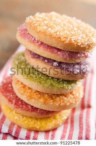 Multicolored Sugar Cookies in Red, Yellow, Green, Orange and Purple Color - stock photo