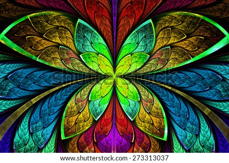 Multicolored symmetrical fractal pattern as flower or butterfly in stained-glass window style. On black. Computer generated graphics. - stock photo