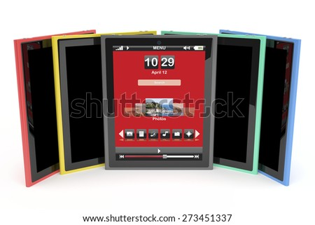 Multicolored tablet computers on white background - stock photo