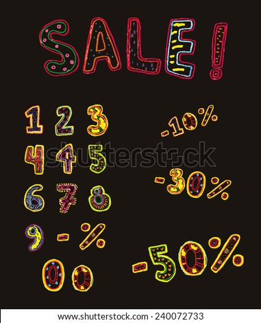 multicolored tag numbers and percentages for sales painted markers. objects isolated - stock photo
